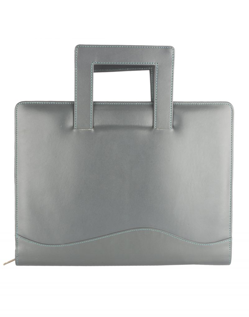Buy Jl Collections Leather Grey & Green Folder online
