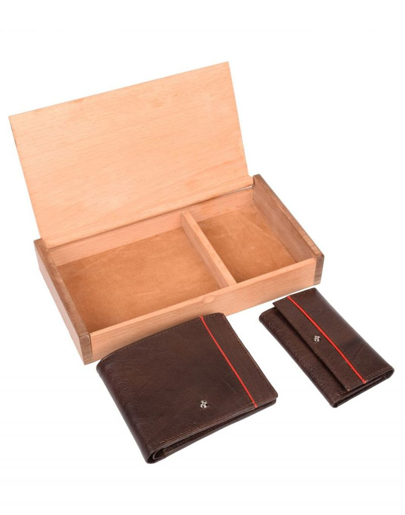 Buy Jl Collections 4 Card Slots Brown Men's Leather Wallet & Key Wallet Gift Sets (pack Of 2) online
