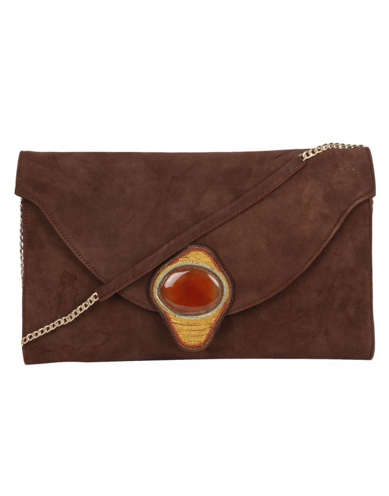 Buy Jl Collections Brown Women's Leather Clutches online