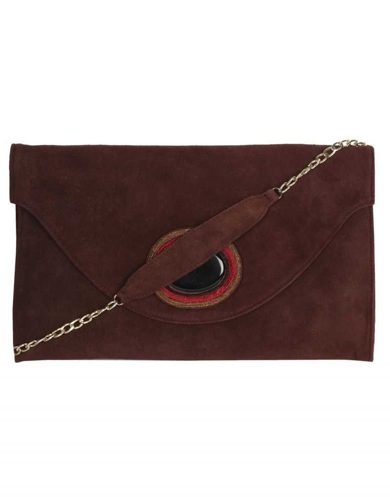 Buy Jl Collections Women's Leather Brown Clutches online