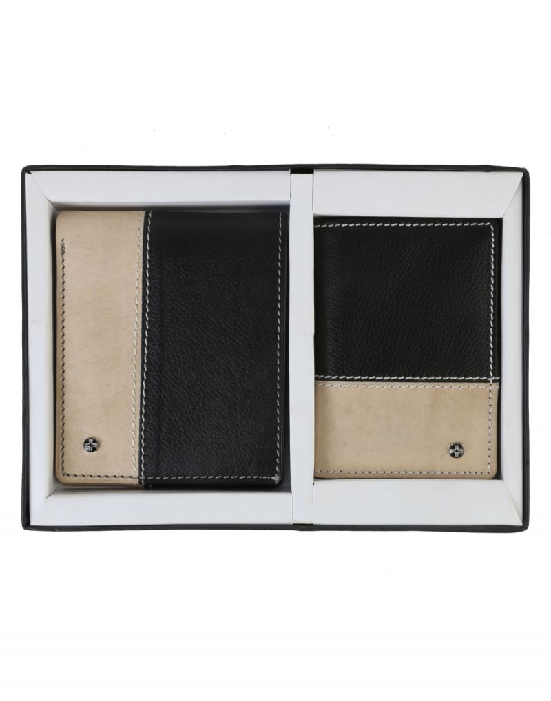 Buy Jlcollections 12 Card Slots Black & Beige Men's Leather Wallet And Card Holder Gift Sets (pack Of 2) online
