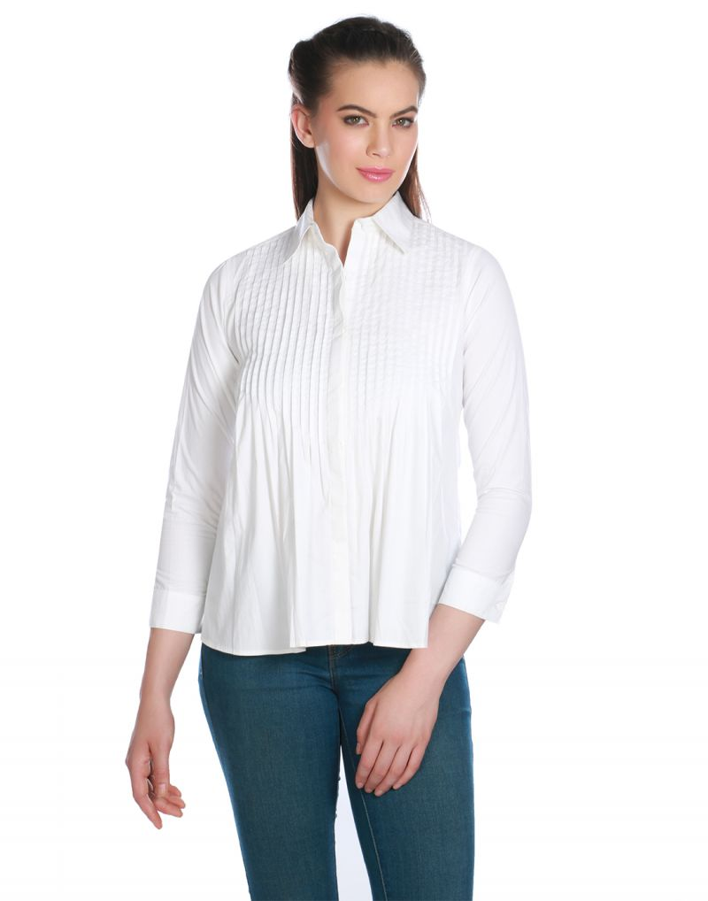Buy Opus White Cotton Poplin Formal Solid Western Wear Women'S Shirt online