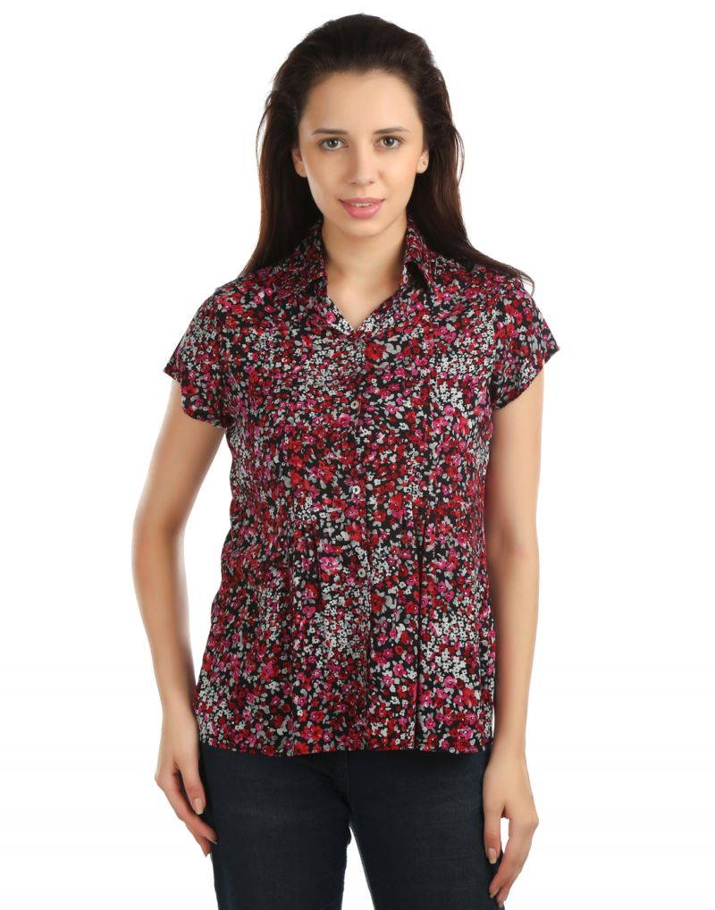 Buy Opus Cap Sleeve Rayon Fabric Casual Red Women'S Shirt online