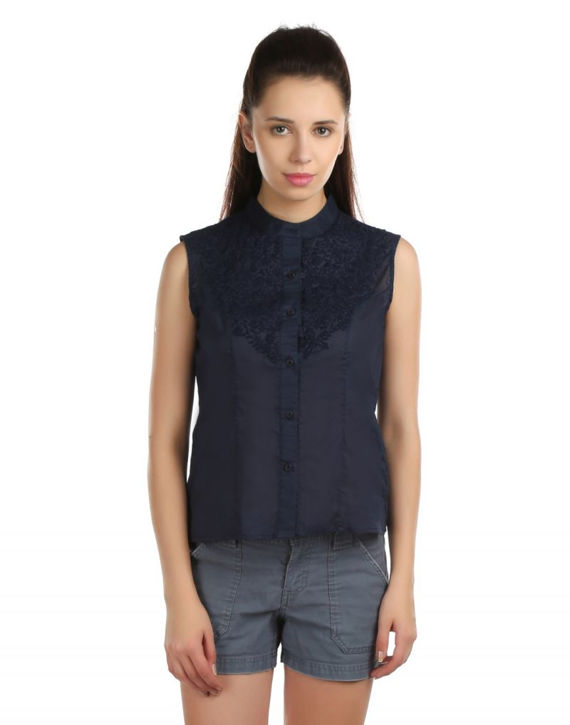 Buy Opus 100% Cotton Sleeveless Embroidered Blue Women'S Shirt online