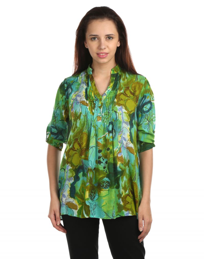 Buy Opus Printed Modal Roll-Up Sleeve Floral Print Green Women'S Top online