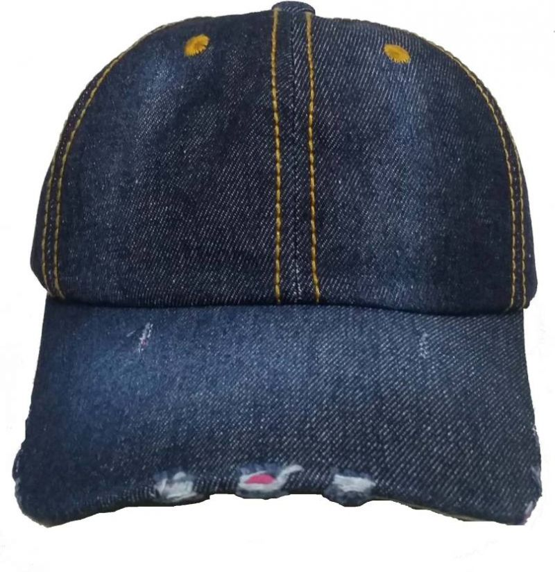 Buy Dark Blue Denim Torn Baseball Cap online
