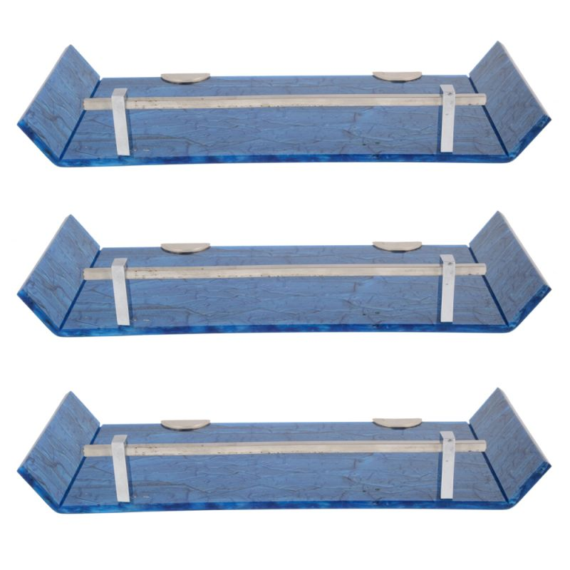 Buy Mercebull 12x5 Inch Blue Marble Desisgned Acrylic Wall Shelf - Combo Of 3 online