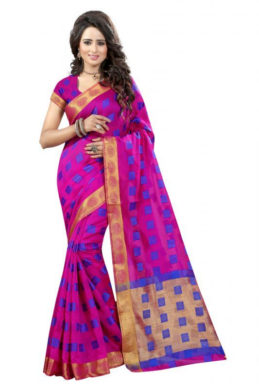 Buy Womens Ethnic Wear Poly Cotton Majanta Colour Saree With Blouse Piece (product Code - Round Square Majnata) online