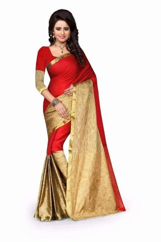 Buy Mahadev Enterprises Red Color Printed Cotton Saree With Blouse Pf66 online