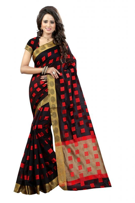 Buy Womens Ethnic Wear Poly Cotton Black Colour Saree With Blouse Piece (product Code - Round Square Black) online