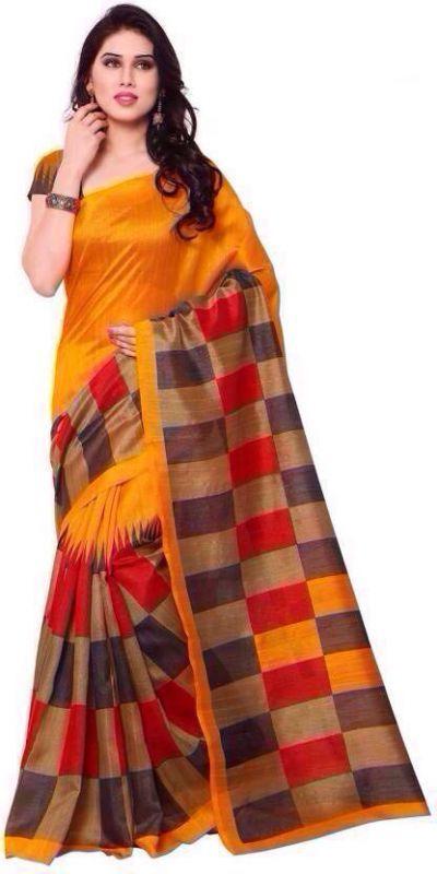 Buy Mahadev Enterprises Orange Color Bhagalpuri Cotton Silk Saree With Unstitched Blouse Pics Ssc4925 online