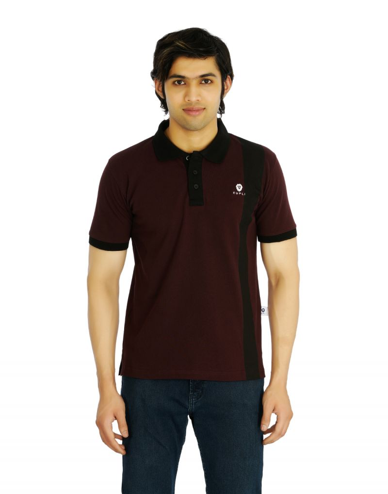 Buy Eupli Cotton Polo Neck Maroon Men's T Shirts online