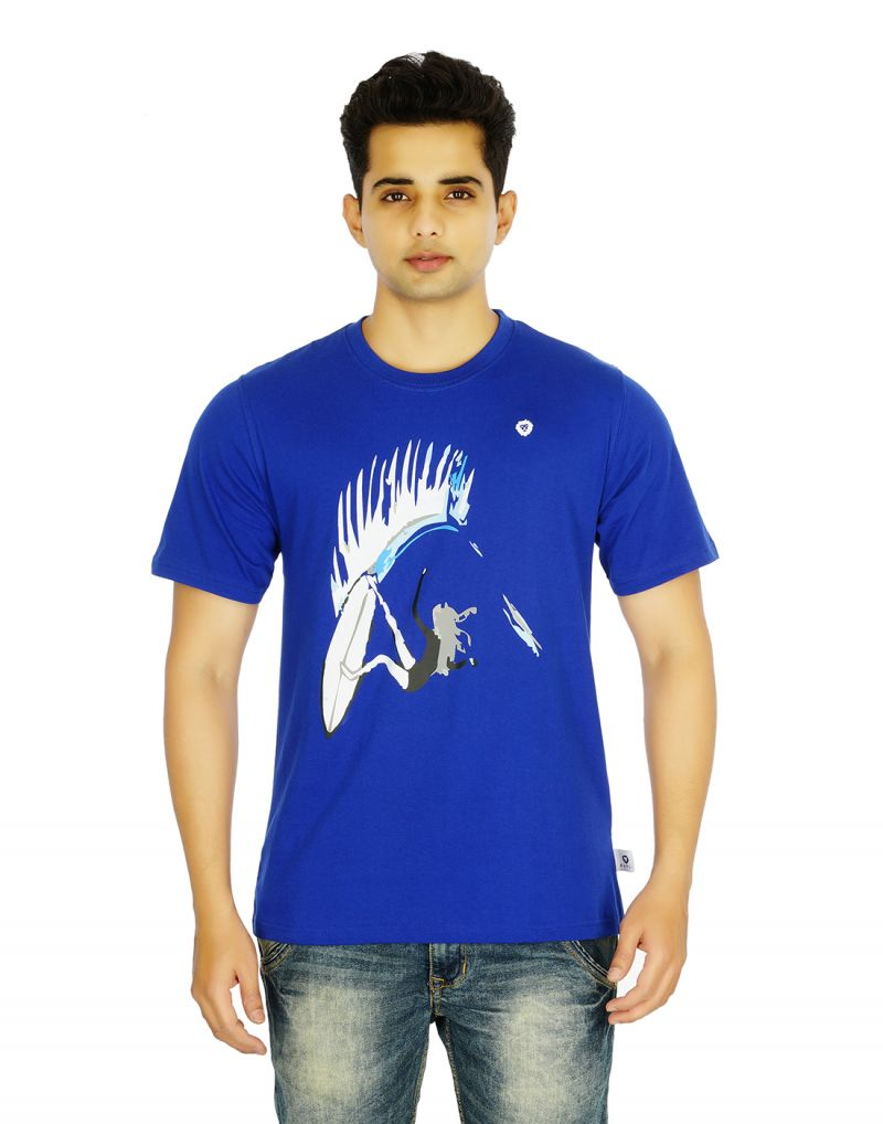 Buy Eupli Cotton Round Neck Printed Royal Blue Men T Shirts online