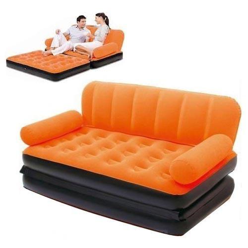 buy inindia large inflatable orange sofa cum bed 5 in 1 free pump