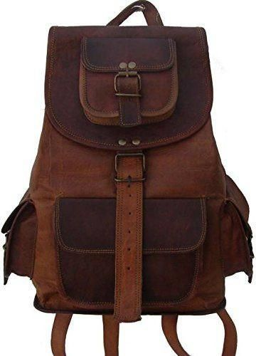 Buy Inindia Pure Leather Brown Travel Casual Ladies Backpack Bag 16 Inch Online