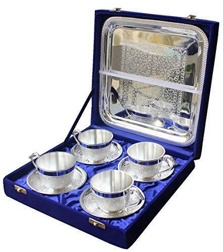 Buy Inindia Silver Plated Artistic Tea Cup Tray Set Of 4 PC With Large Tray online