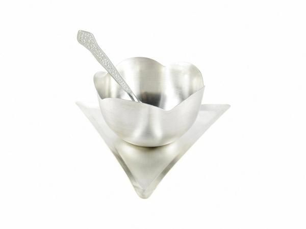 Buy Inindia Silver Plated Ice Cream Bowl Set With Tray online