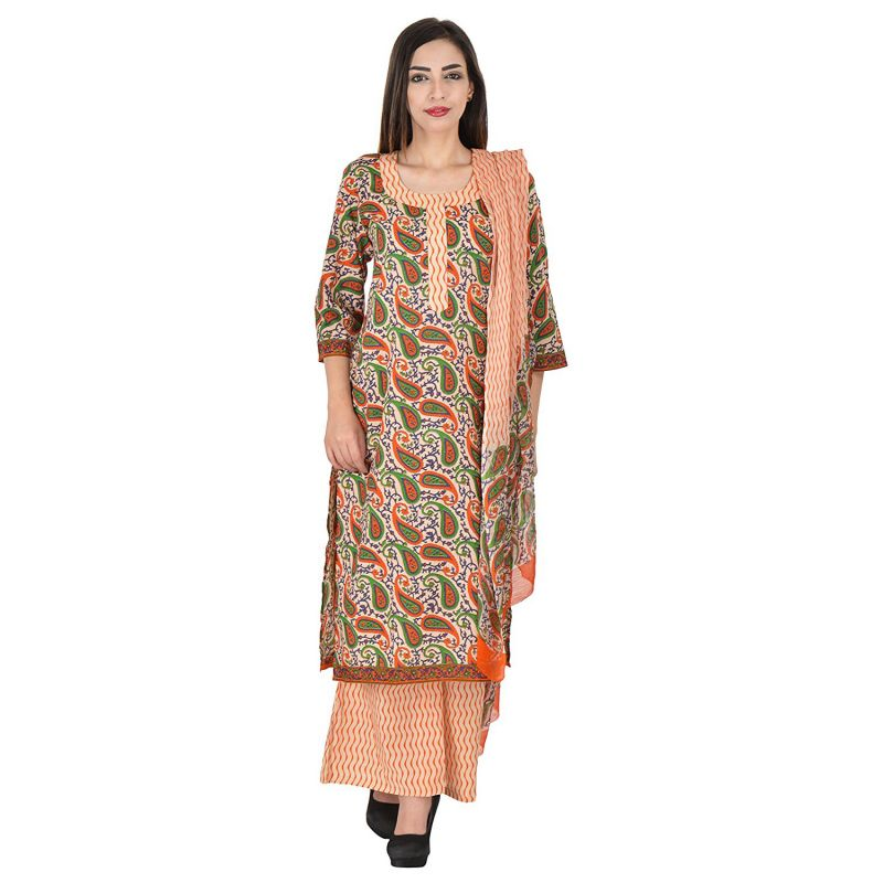 Buy Aaditri Clothing Ethnic Dress Material Cotton Multi-coloured Women(472017) online