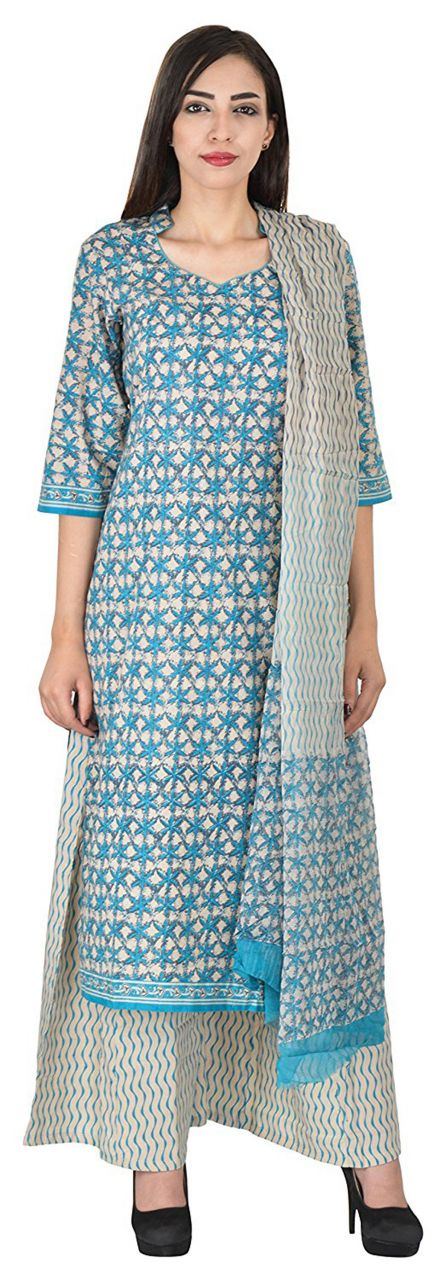Buy Aaditri Clothing Ethnic Cotton Blue And White Color Dress Material For Women(7720175) online