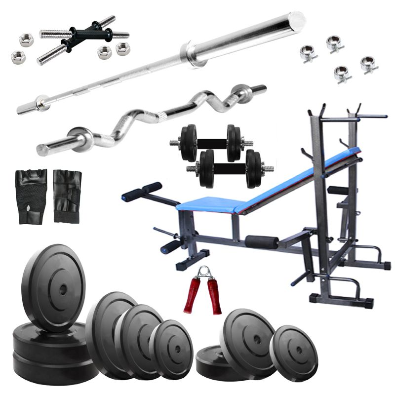 Buy Diamond 8 In 1 Bench Home Gym Machine With 50kg Weight 3ft Ez 5ft Straight Rod online