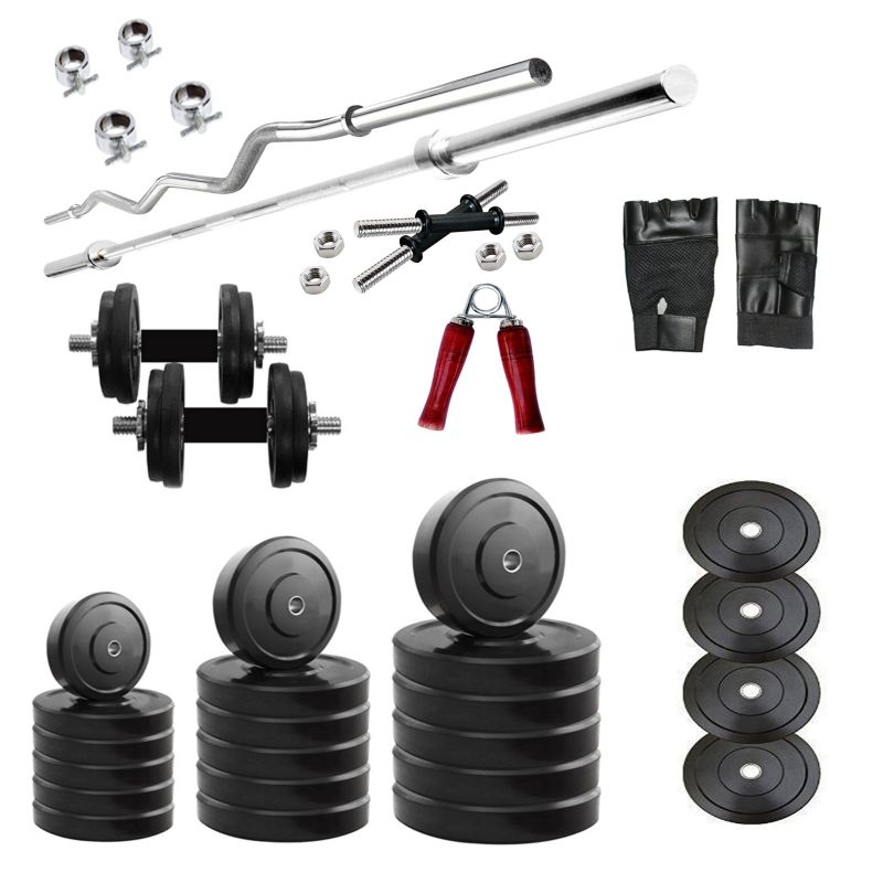 Buy Diamond Home Gym Of 20kg Weight With 3ft Curl 4ft Straight Bar & Accessories For Strength & Fitness online