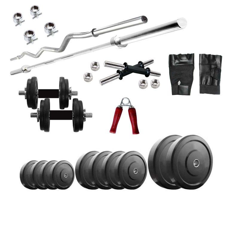 Buy Diamond Weightlifting Package Of 68kg Weight With 3ft Curl & 3ft Plain Rods For Perfect Health & Fitness online