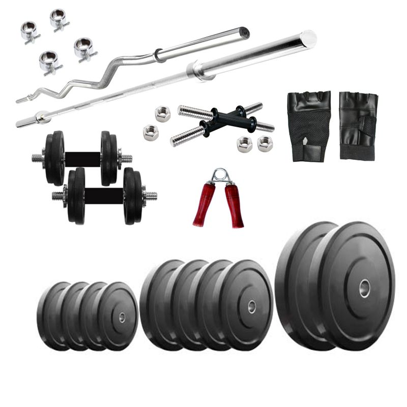 Buy Diamond Home Gym Combo Of 50kg Weight With 3ft Curl And 4ft Straight Rod For Muscle Workout online