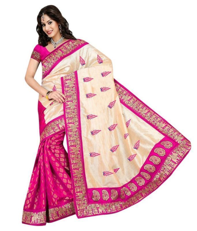Buy Kazipu Womens Bhagalpuri New Pink Raw Silk-jacquard Saree With Blouse Piece (code - Pfs1063-pink) online