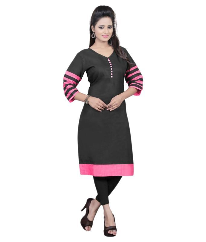 Buy Nitay Fashion Cotton Black Kurti For Women (code - Nf-np-kt_02_1) online