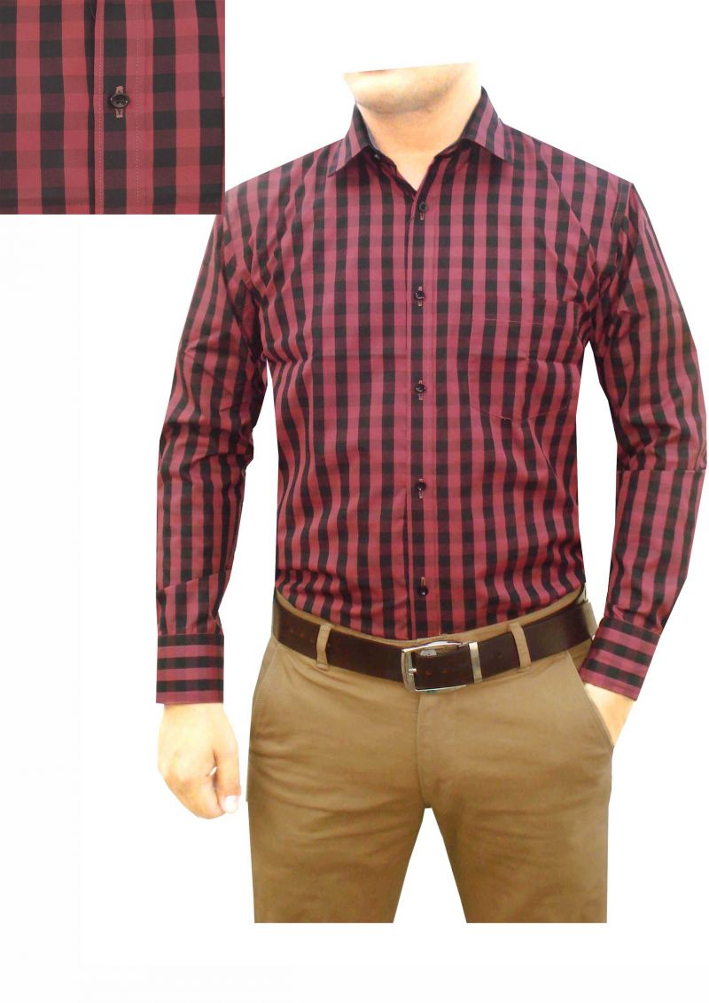 Buy Granix Men's Formal Red Checkered Full Sleeves Regular Fit Shirts online