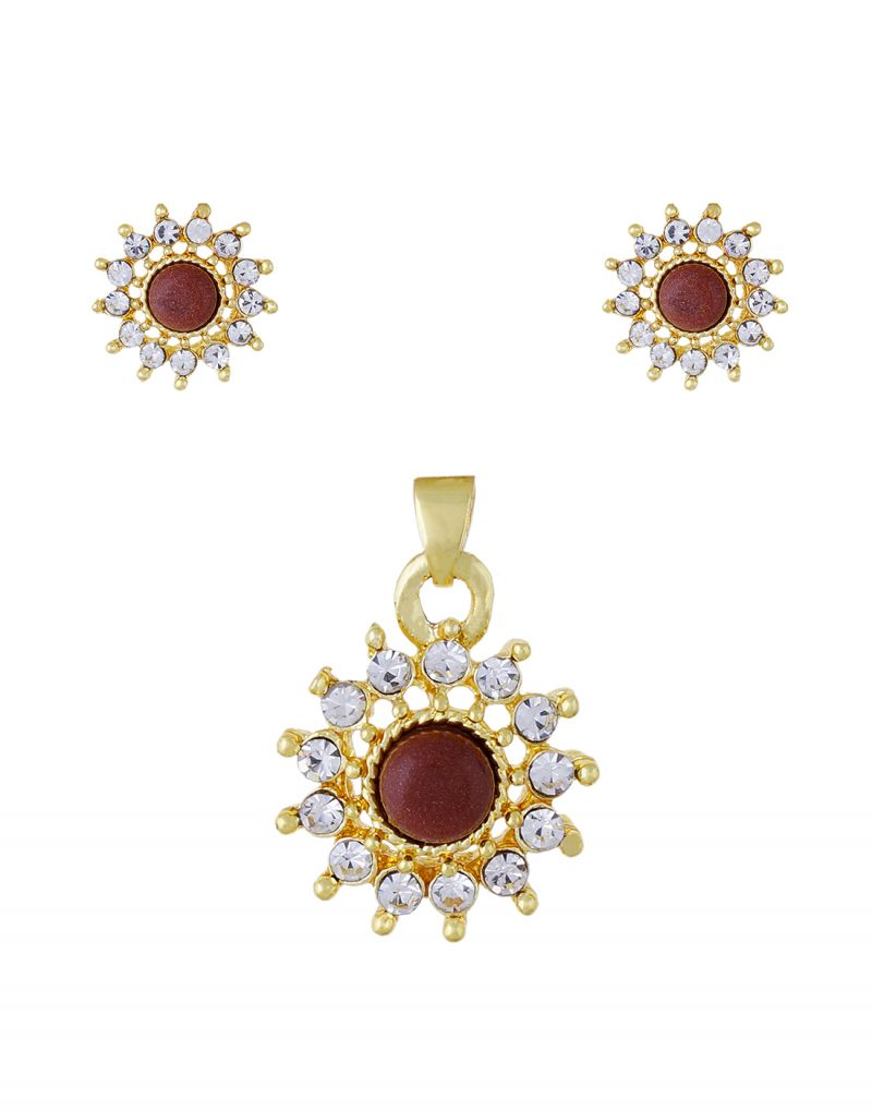 Buy Gold Plated Stylish Coral Stone Pendant Set - 3s0013 online