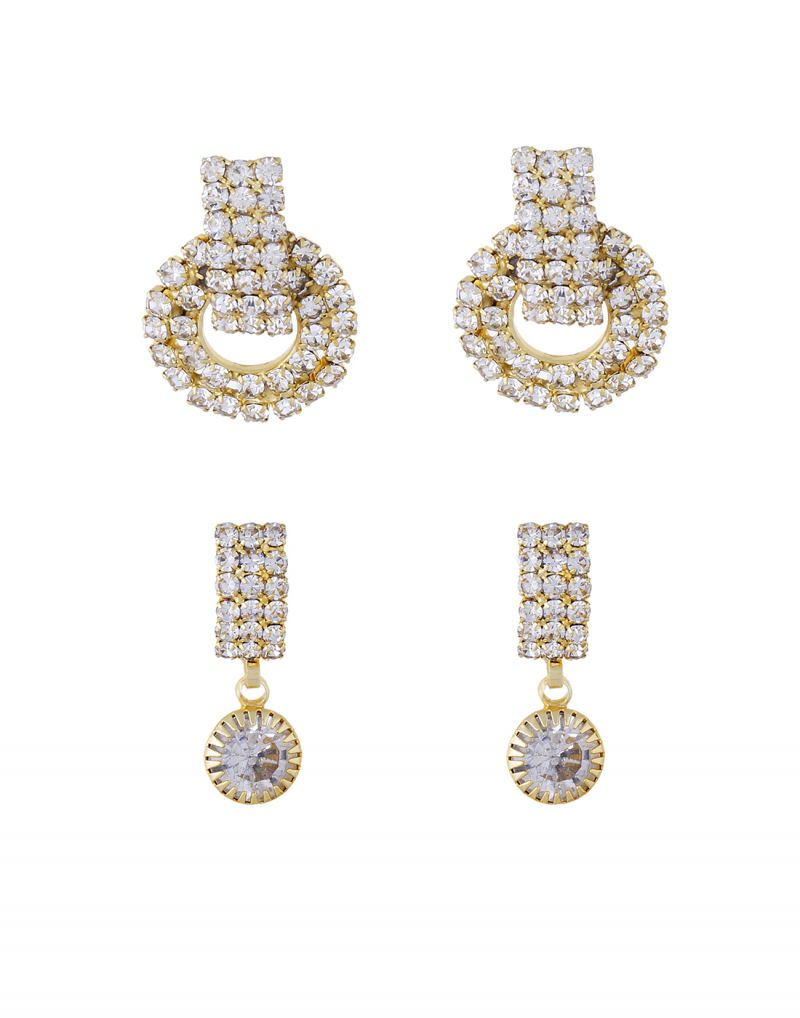 Buy 3s Fashion Trends Gold Plated White Stone Earrings Combo 3s0006 online