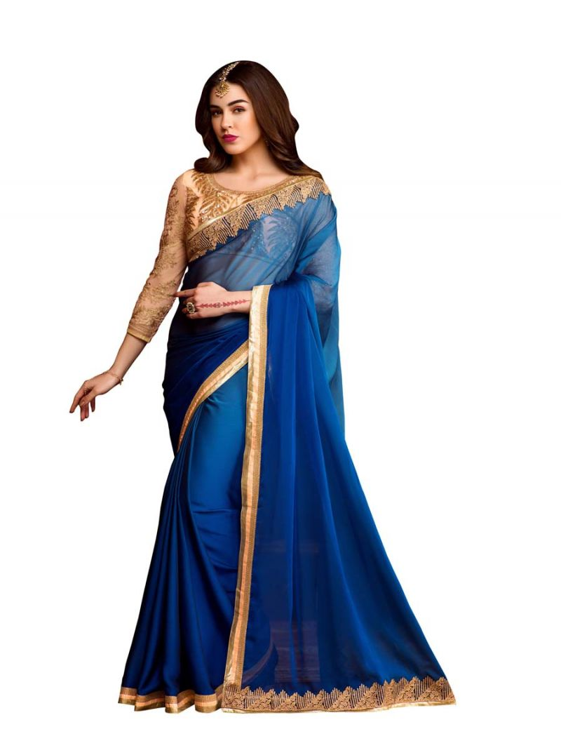 Buy Stylee Lifestyle Blue Embroidered Saree online