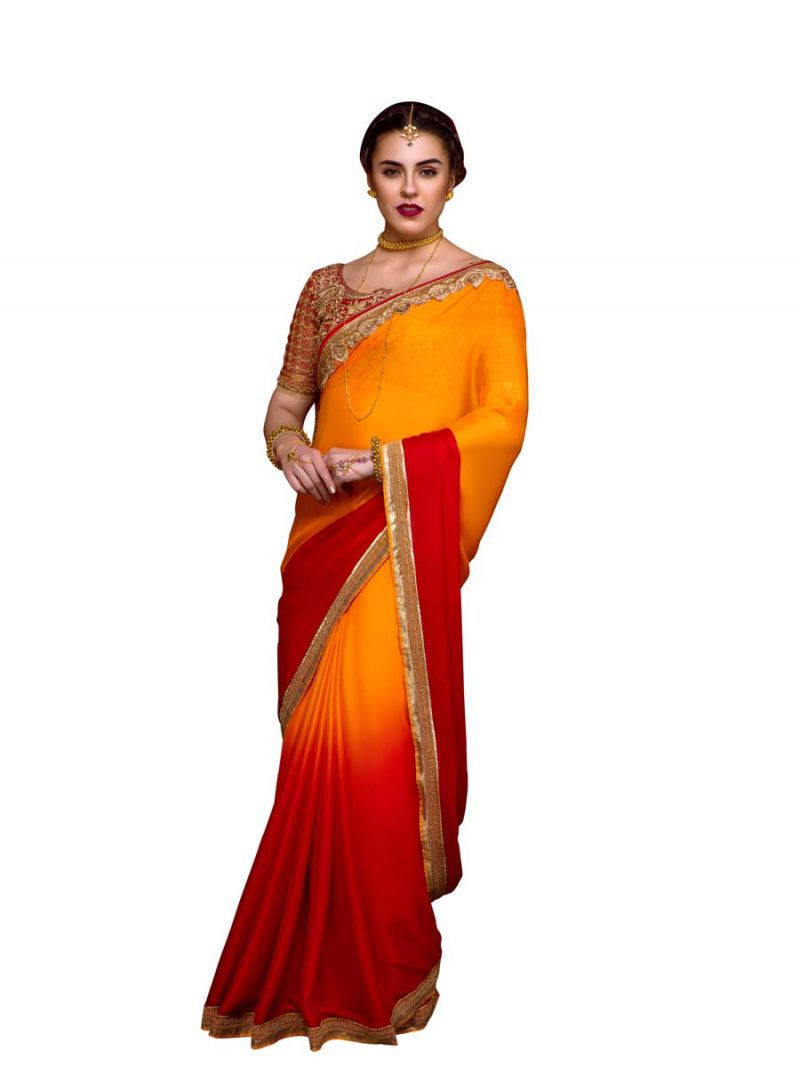 Buy Stylee Lifestyle Orange Embroidered Saree 1009 online