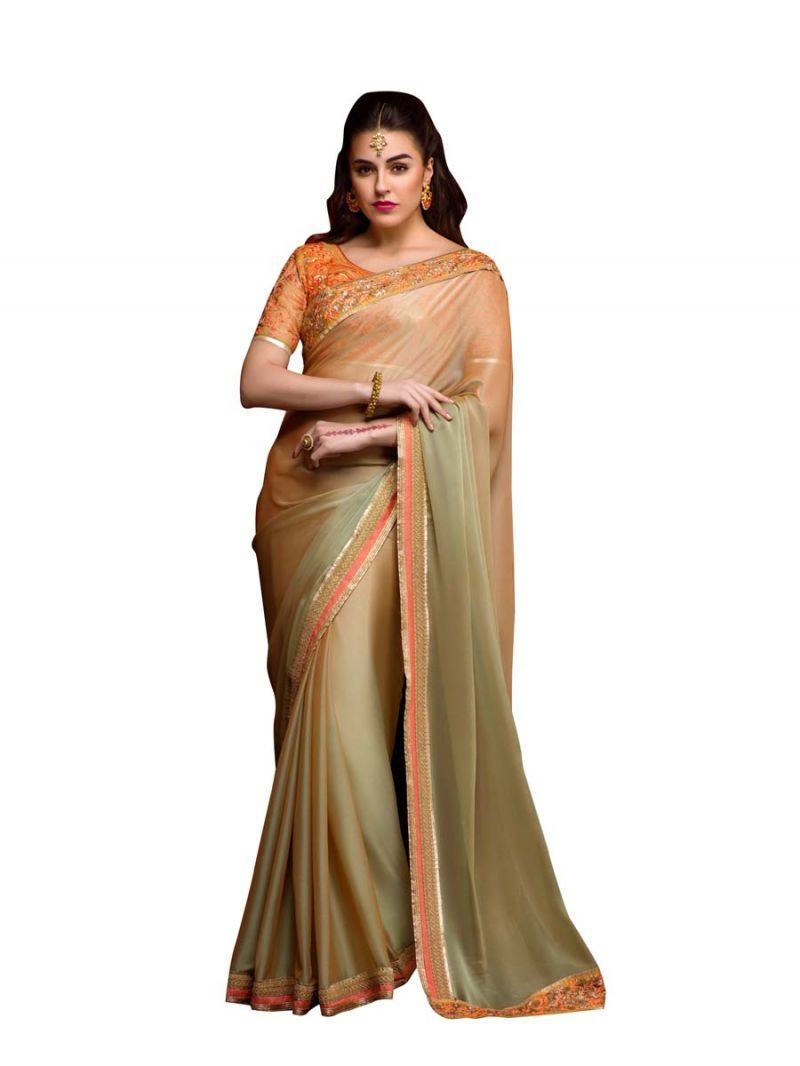 Buy Stylee Lifestyle Pista Green Embroidered Saree online