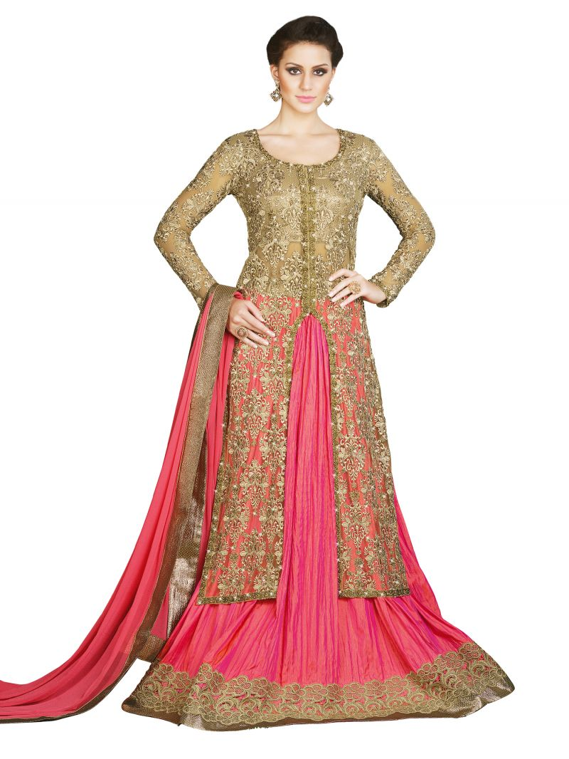 Buy Stylee Lifestyle Beige Embroidered Anarkali Suits online