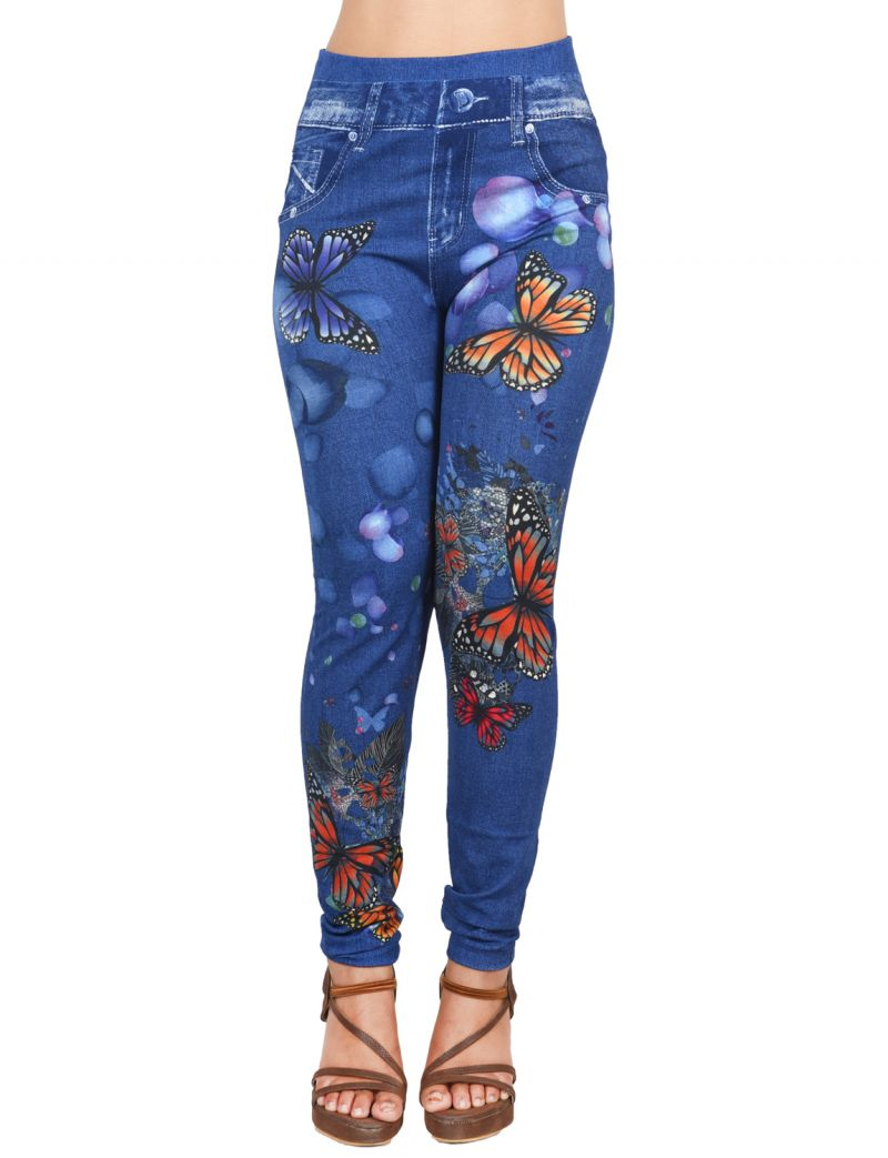 Buy Ziva Fashion Girls/womens Blue Poly Cotton Ankle Length Printed Leggings/jeggings ( Code - J11 ) online