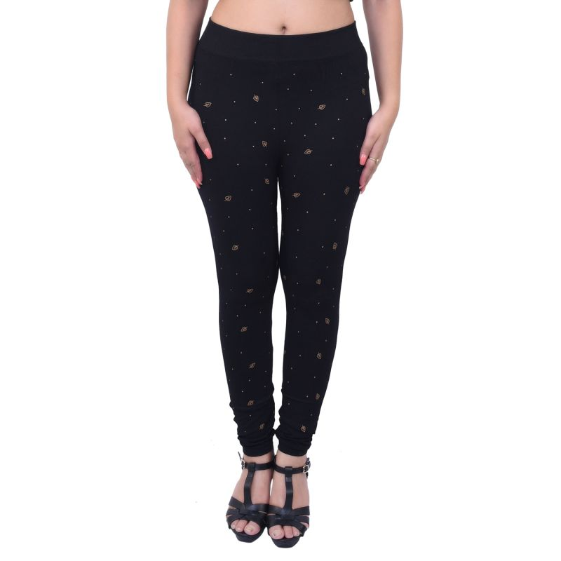 Buy Ziva Fashion Black Printed Free Size Jeggings - ( J6002-fr ) online