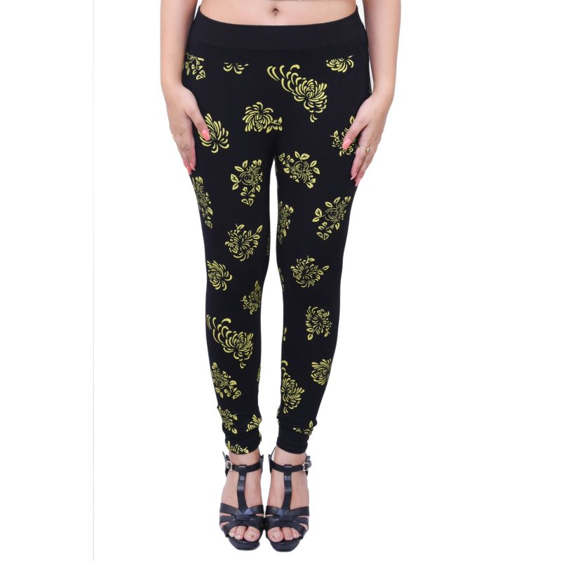 Buy Ziva Fashion Black Printed Free Size Jeggings - ( J6039-fr ) online
