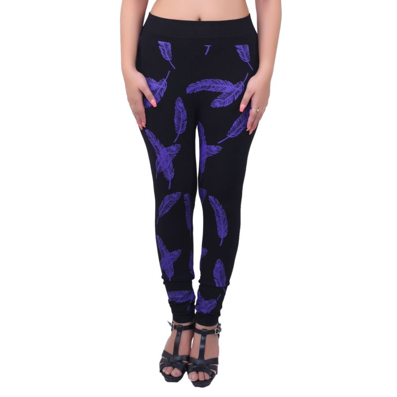 Buy Ziva Fashion Black Feather Print Free Size Jeggings - ( J68-fr ) online