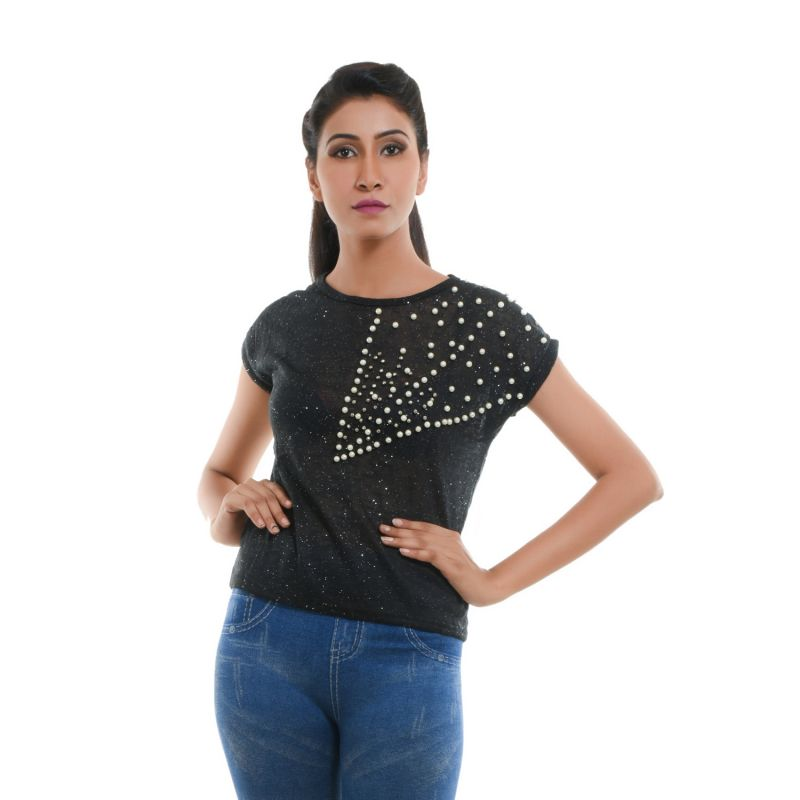 Buy Ziva Fashion Women's Black T-shirt With Pearls - T106 online