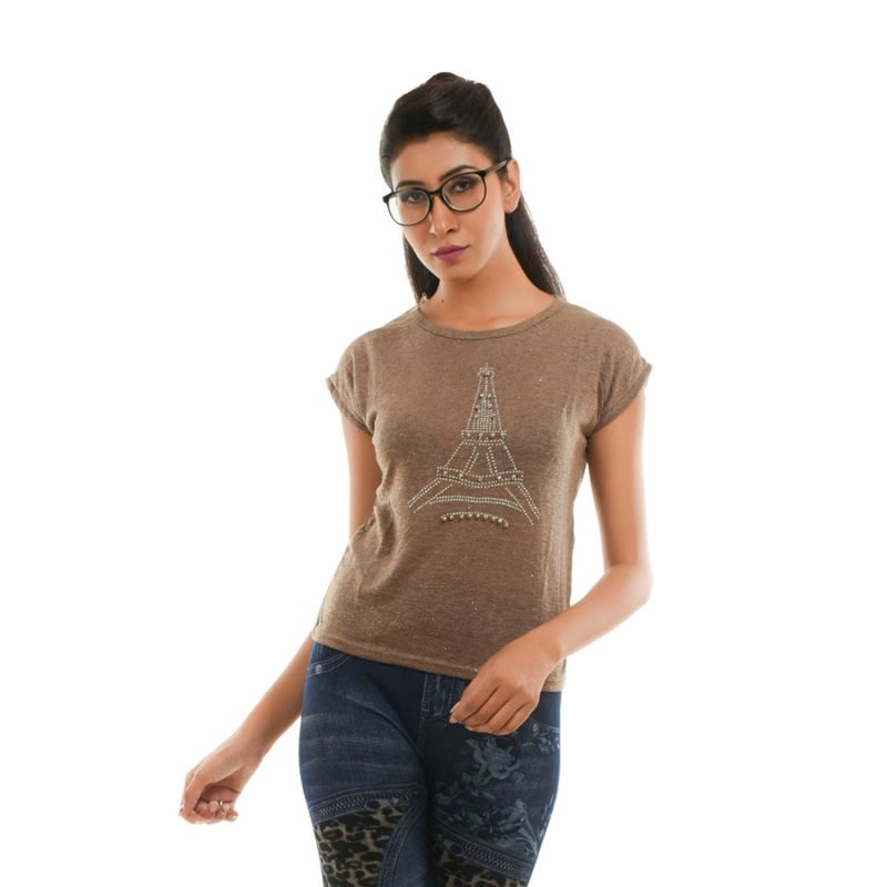 Buy Ziva Fashion Women's Brown Eiffel Tower T-shirt With Pearls - T110 online