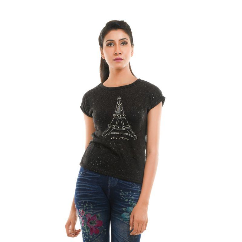 Buy Ziva Fashion Women's Black Eiffel Tower T-shirt With Pearls - T112 online