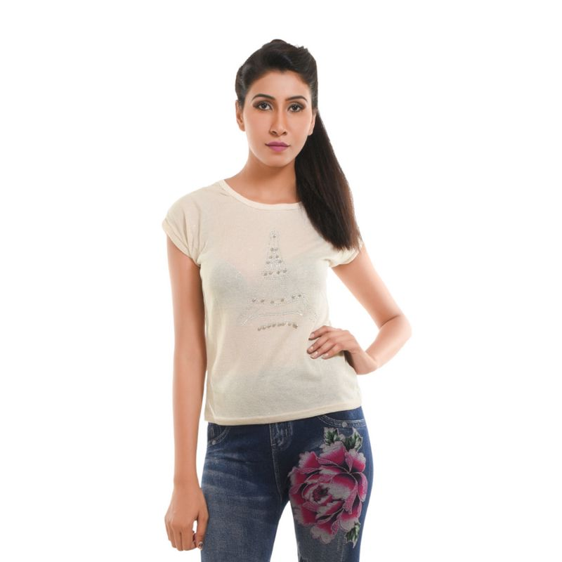 Buy Ziva Fashion Women's Off White Eiffel Tower T-Shirt with Pearls online
