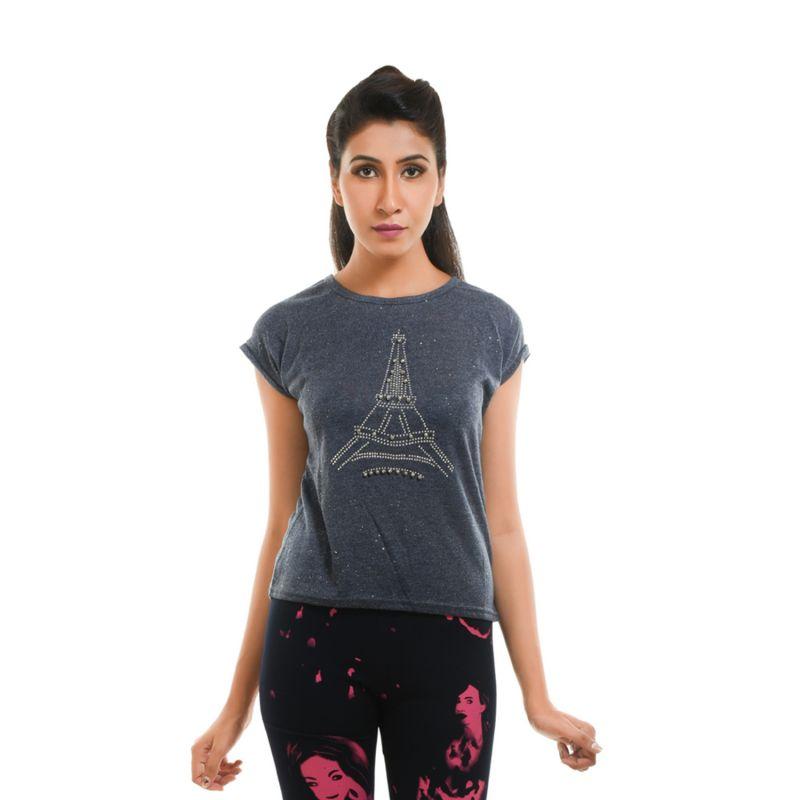 Buy Ziva Fashion Women's Blue Grey Eiffel Tower T-shirt With Pearls - T117 online