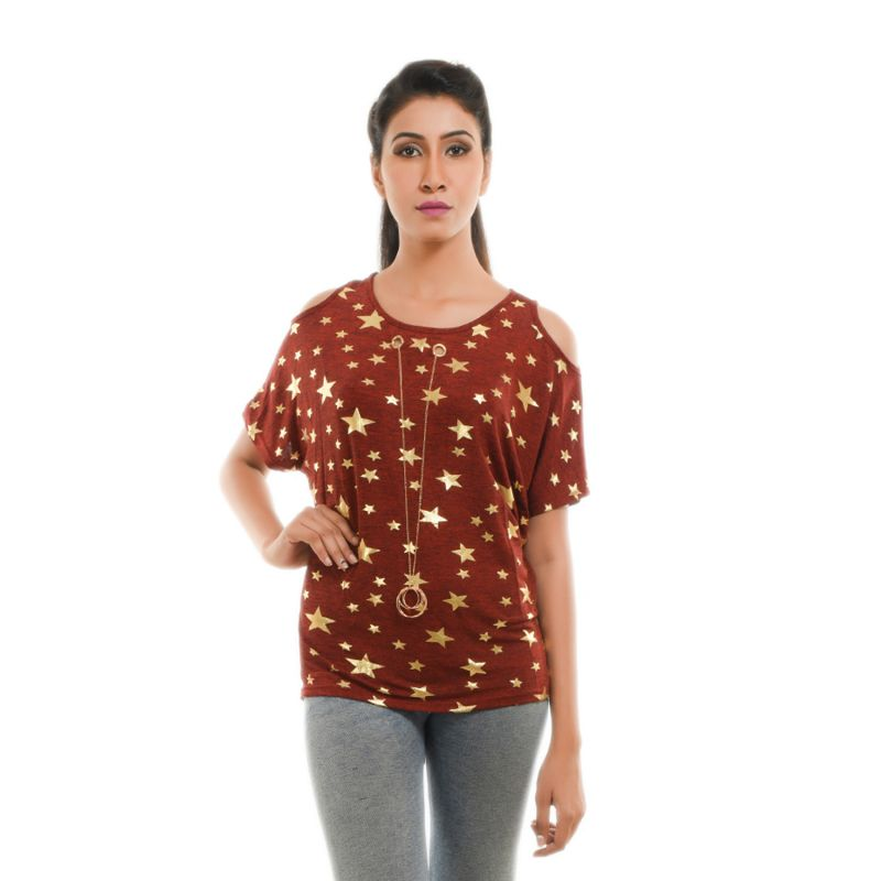 Buy Ziva Fashion Women's Rust Star Print Cold Shoulder Top online