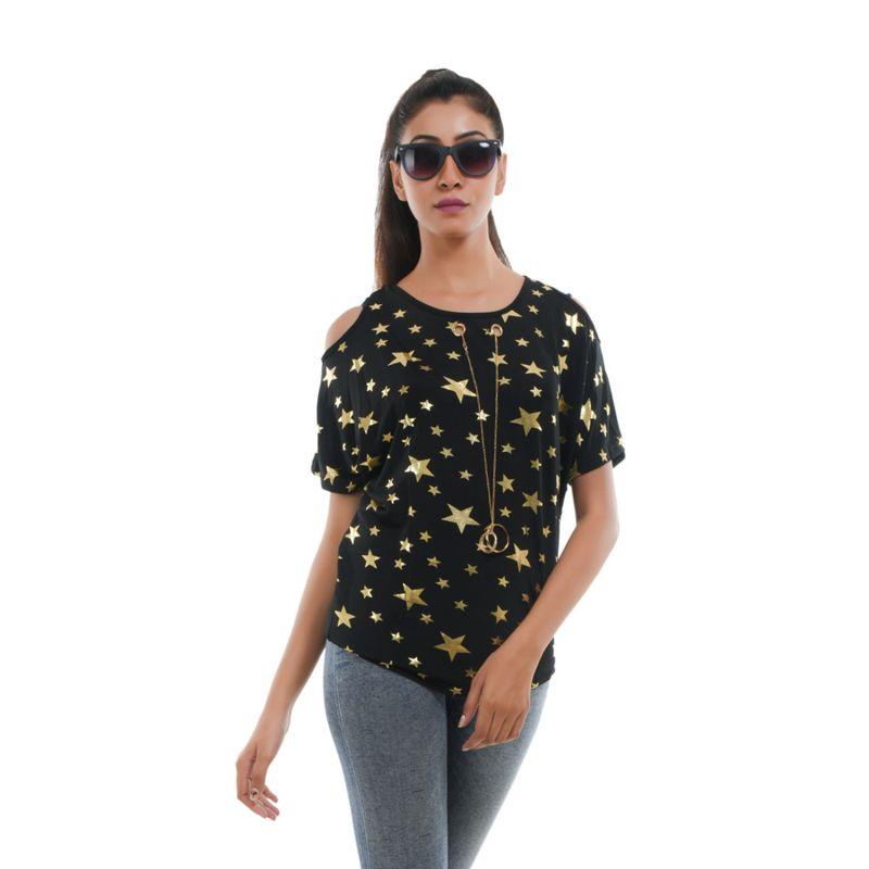 Buy Ziva Fashion Women's Black Star Print Cold Shoulder Top online