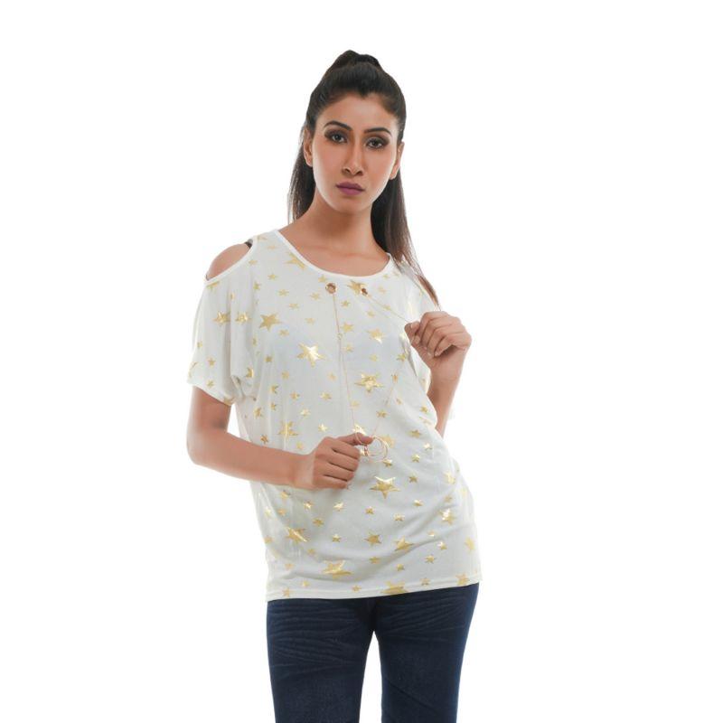 Buy Ziva Fashion Women's White Star Print Cold Shoulder Top - T57 online