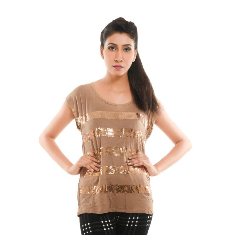 Buy Ziva Fashion Women's Brown Sequined Top - T58 online