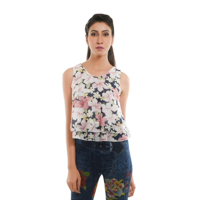 Buy Ziva Fashion Women's Floral Layered Top - T60 online